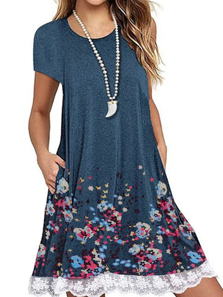Crew Neck Women Dresses Shift Daily Casual Floral Dresses Blue/3XL