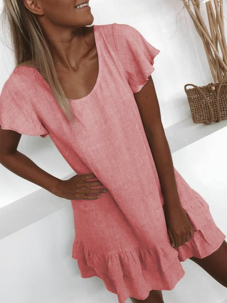 Plus Size Casual U-Neck Solid Short Sleeve Mini Dresses Red/5XL