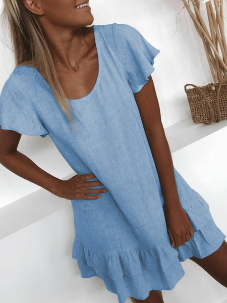 Plus Size Casual U-Neck Solid Short Sleeve Mini Dresses Blue/XXL