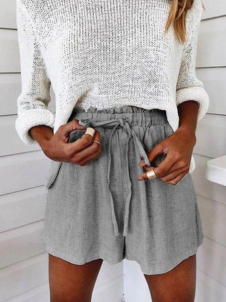 Women Casual Cotton Shift Pants Grey/L