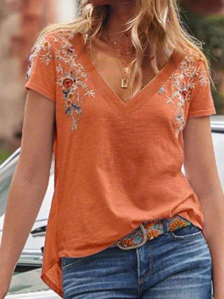 Cotton-Blend V Neck Casual Plain Shirts & Tops Orange/4XL
