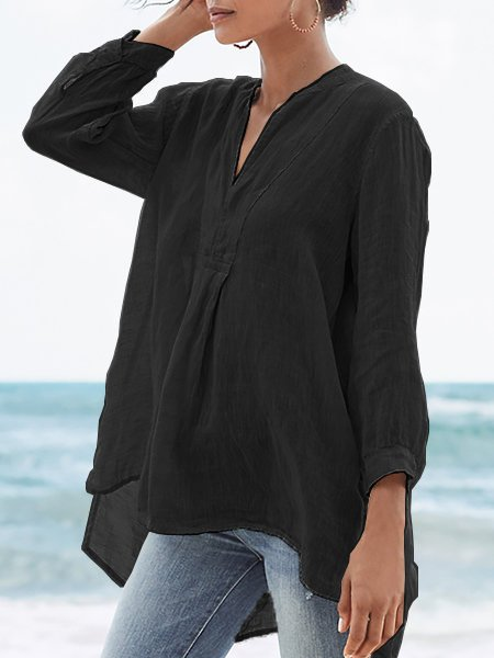 Solid V Neck Casual 3/4 Sleeve Plus Size Shirts Black/S