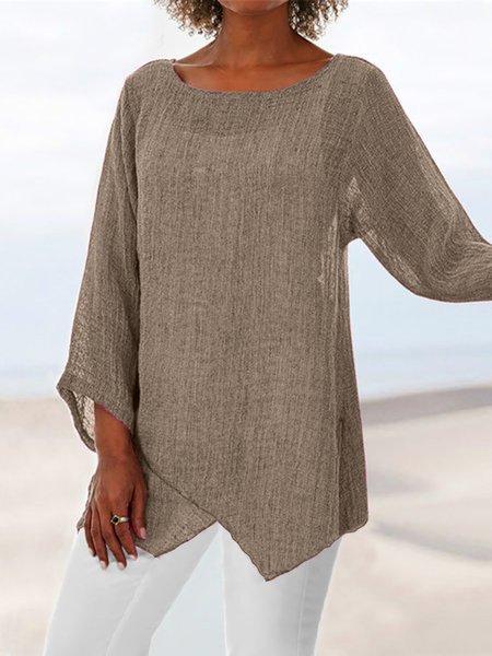 Plus Size Asymmetric Linen Women Tunic Blouses Khaki/3XL