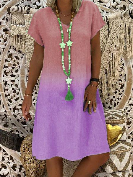 Cotton-Blend V Neck Casual Dresses Pink/XL