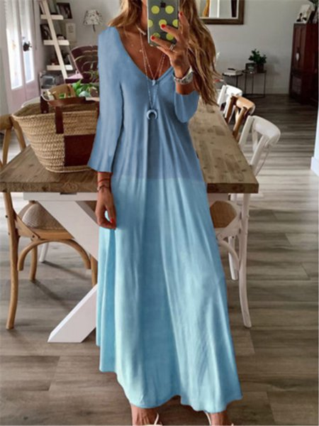 Graphic Printed Casual V-neck Long Sleeve Maxi Dress Blue/XXL