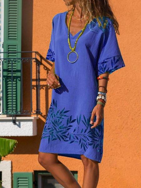 Casual Cotton-Blend V Neck Dresses Blue/3XL