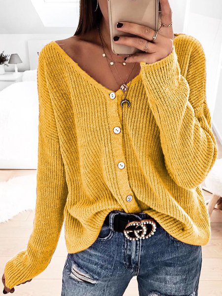Plus Size Solid Sweater Buttoned V Neck Knitted Tops Yellow/3XL