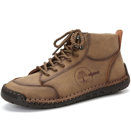 Men Large Size Hand Stitching Leather Non Slip Soft Casual Ankle Boots Khaki/48