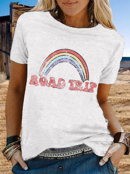 Vintage Short Sleeve Rainbow Letter Printed Plus Size Casual Tops Army Green/3XL