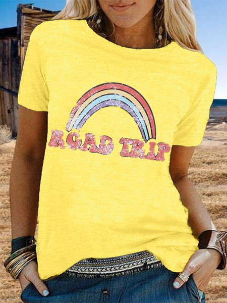 Vintage Short Sleeve Rainbow Letter Printed Plus Size Casual Tops Yellow/5XL
