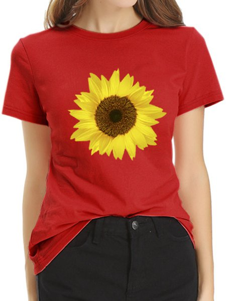 Vintage Short Sleeve Sunflowers Printed Plus Size Casual Tops Red/XL
