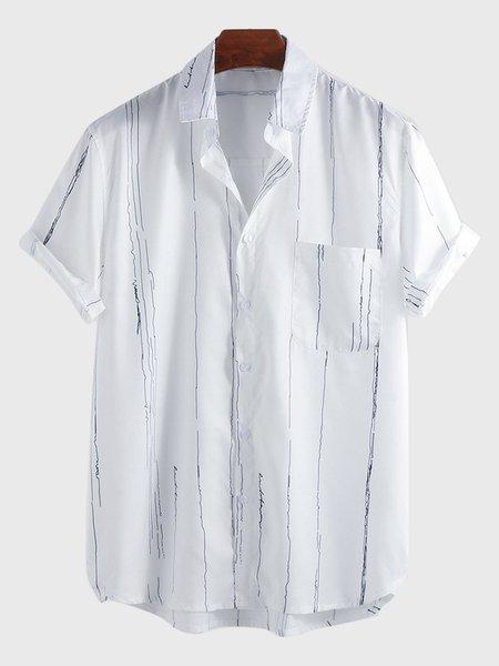 Shirt Collar Asymmetric Stripes Shirts & Tops Printed White/3XL