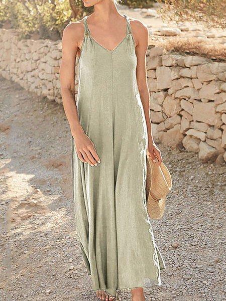 Spaghetti-Strap Cotton V Neck Plain Dresses Gray/S
