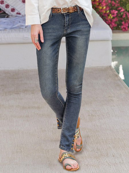 Women Solid Elegant Jeans Denim Blue/M