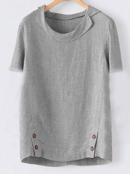 Casual Solid Turn-Down Collar T-Shirts & Tops Light Gray/M