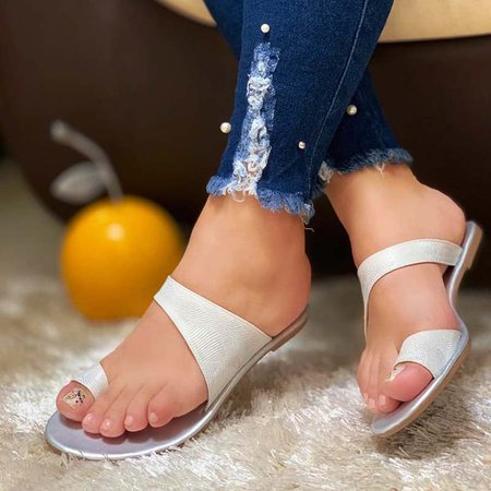 Summer Flat Heel Slippers Silver/42