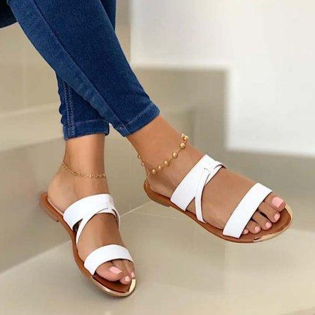 Summer Flat Heel Beach Slippers White/35