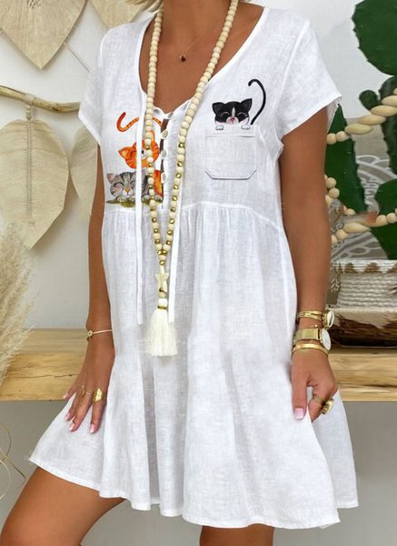 Casual Short Sleeve Dresses White/3XL