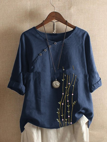 Casual 3/4 Sleeve Shirts & Tops Dark_blue/4XL