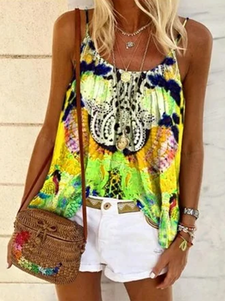 Printed Sleeveless Shirts & Tops Yellow/S