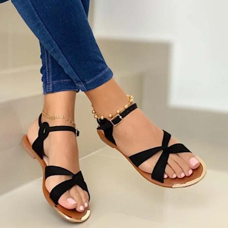 Holiday Flat Heel Leather Sandals Black/42