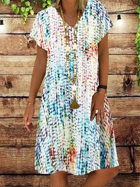 Casual Short Sleeve Dresses LightBlue/XL