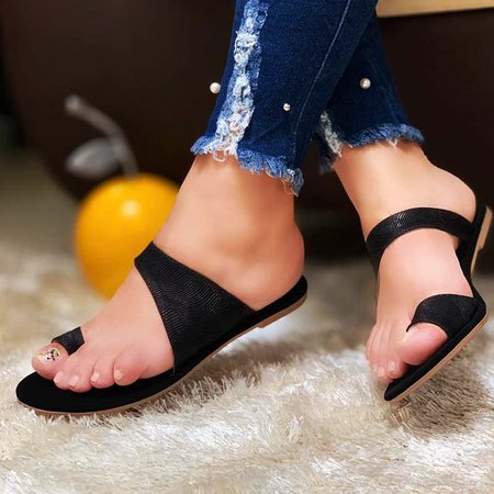 Summer Flat Heel Slippers Black/41