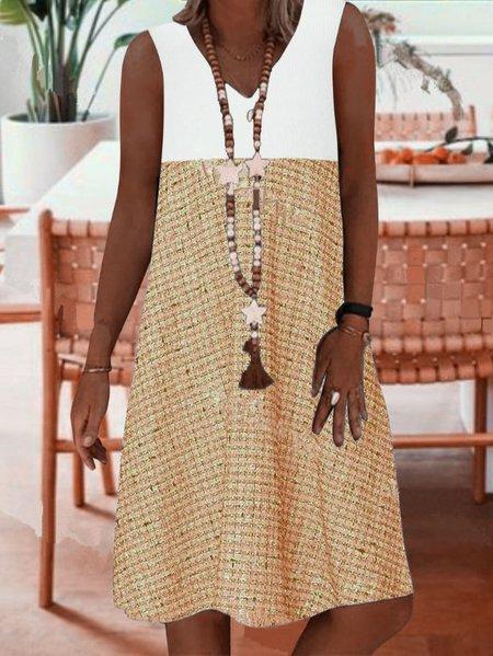 Sleeveless A-Line Dresses Khaki/3XL