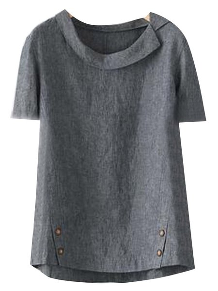 Casual Solid Turn-Down Collar T-Shirts & Tops Deep Gray/M