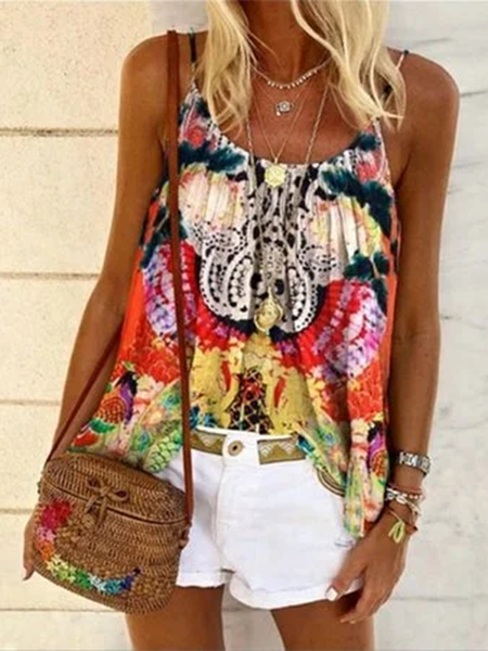 Printed Sleeveless Shirts & Tops Red/L