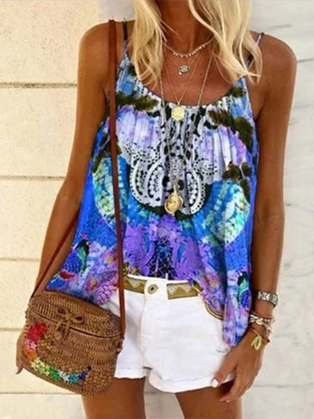 Printed Sleeveless Shirts & Tops Blue/XL