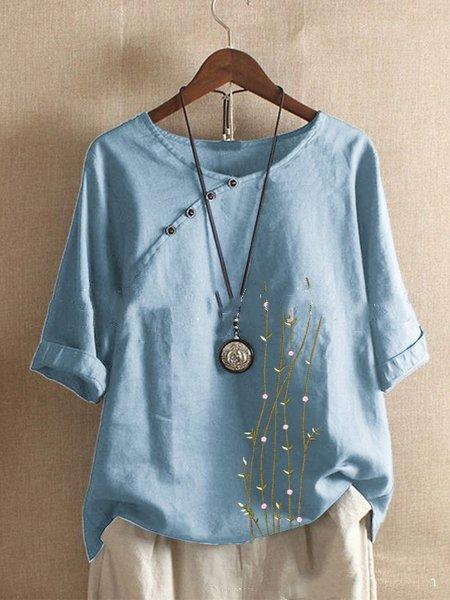 Casual 3/4 Sleeve Shirts & Tops LightBlue/5XL