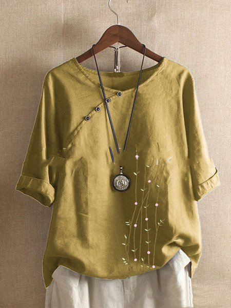 Casual 3/4 Sleeve Shirts & Tops Yellow/L