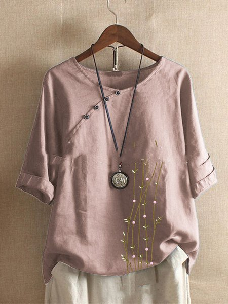 Casual 3/4 Sleeve Shirts & Tops Pink/M
