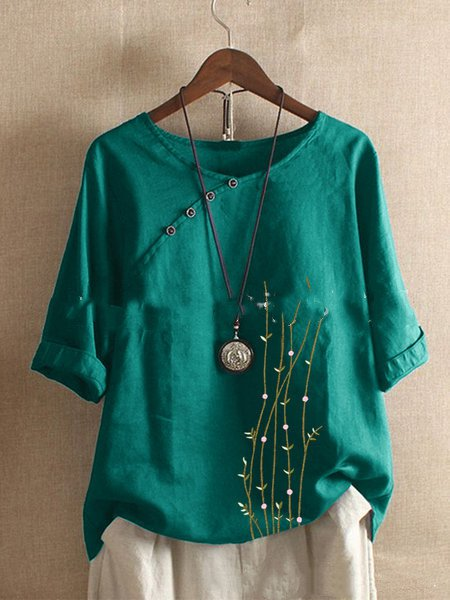 Casual 3/4 Sleeve Shirts & Tops Green/3XL