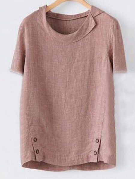 Casual Solid Turn-Down Collar T-Shirts & Tops Pink/S