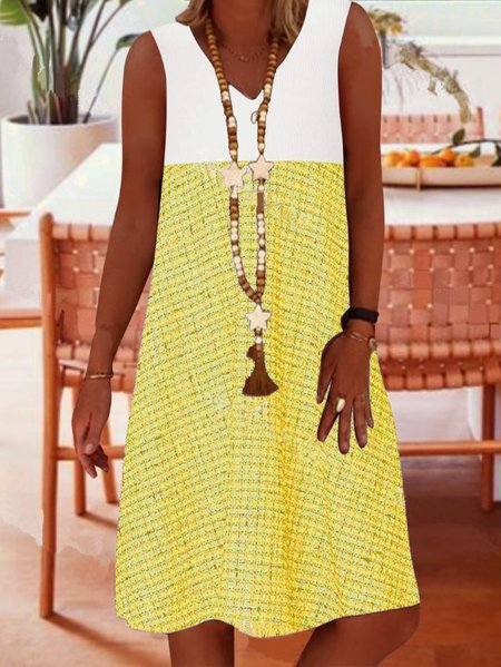 Sleeveless A-Line Dresses Yellow/S