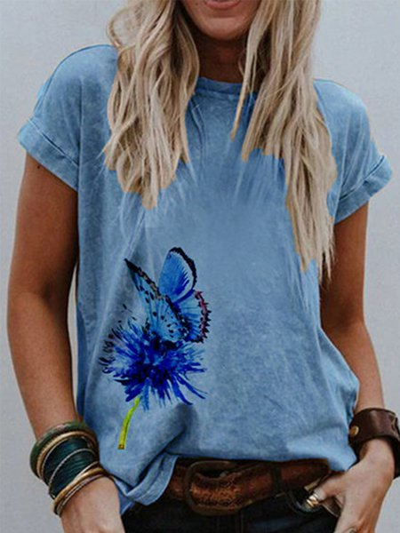 Khaki Printed Short Sleeve Round Neck Shirts & Tops Blue/S