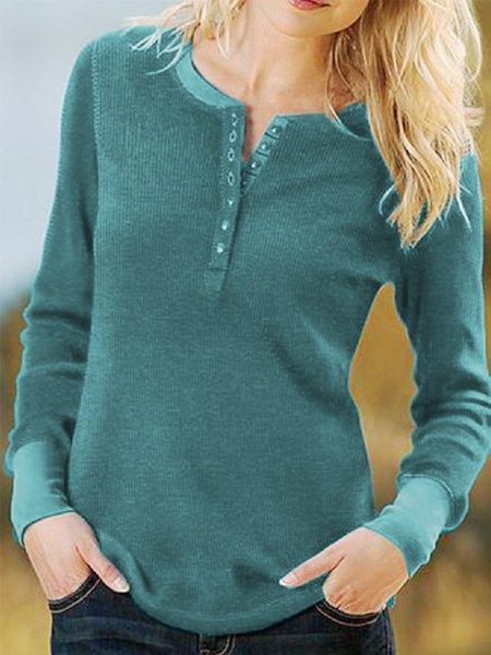 Aqua Blue Casual Cotton-Blend Long Sleeve Buttoned Shirts & Tops Aqua blue/3XL