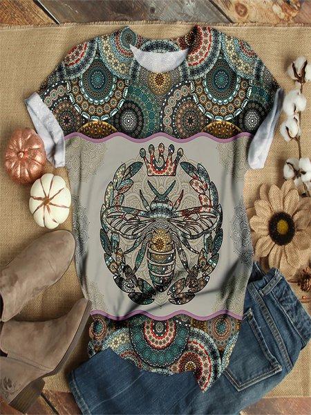 Print Rundhals Normale Shirts mit Kurzarm