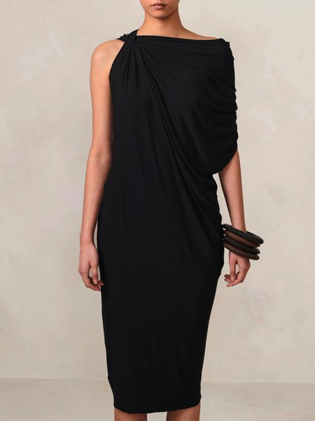 Vintage Cotton-Blend Plain Sleeveless Dress, Black, Midi Dresses