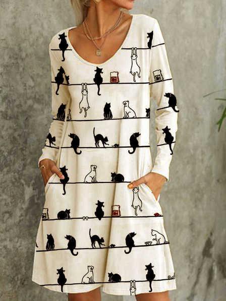 Langarm Baumwollmischung Kleider mit Katze Print