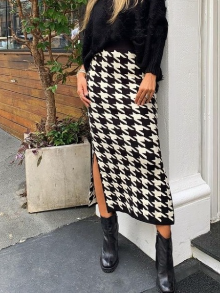 Fall Slit Simple Elegant Daily Skirts, As picture, Midi Skirts