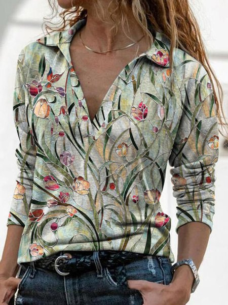 Floral Casual Shirts & Tops, Green, Tops