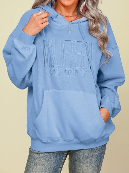 Baumwolle Stickerei Buchstabe Sweatshirts mit Langarm